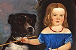Child in Blue With Dog