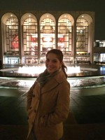 Shelby in front of Lincoln Center